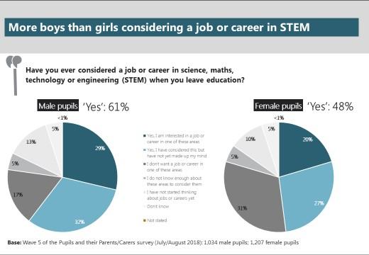 Boys more likely to consider STEM jobs than girls