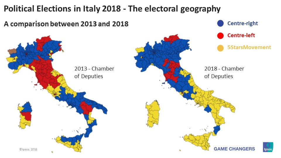 Political Elections Italy 2018 - The electoral geography