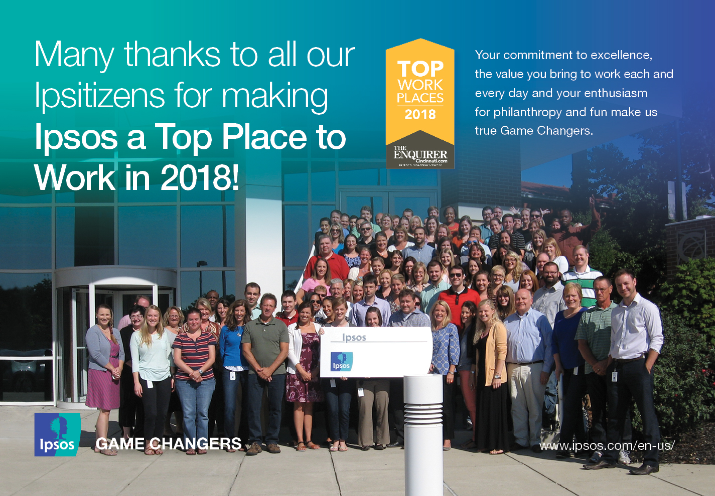 Ipsos awarded Top Workplaces in 2018