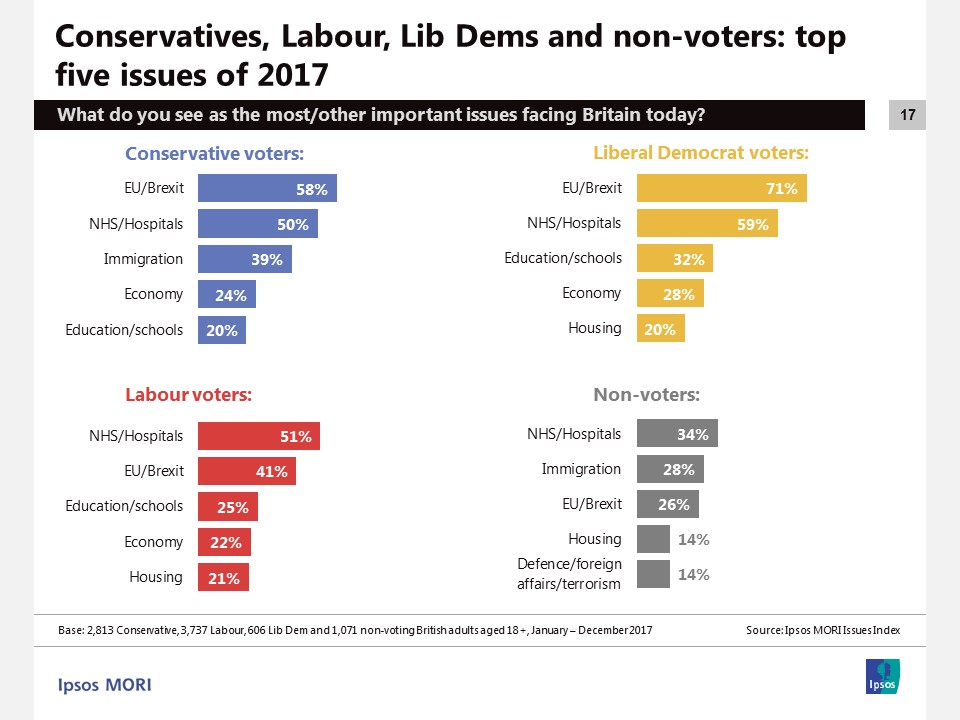 Top five issues for Conservatives, Labour, Lib Dems and non-voters