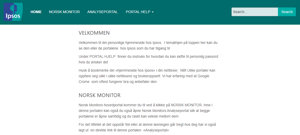 Norsk Monitor Hovedportal